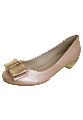 Sapato Scarpin Anna Flynn Laço Strass Rosa