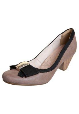 Sapato Scarpin Bebecê Salto Baixo Laço Ponteira Marrom