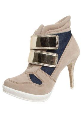 Ankle Boot Crysalis Sneaker Velcro Salto Bege