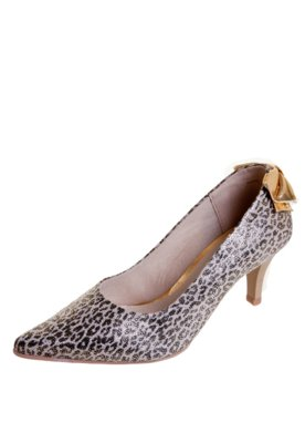 Sapato Scarpin Pink Connection Animal Print Bege