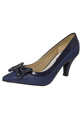 Sapato Scarpin Anna Flynn Laço Bico Fino Azul