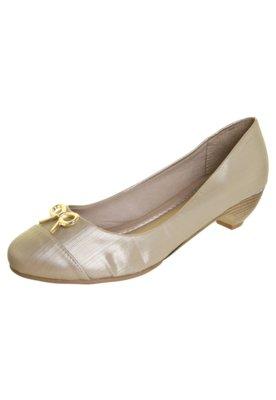 Sapato Scarpin Anna Flynn Laço Metálico Dourado