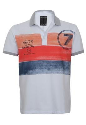 Camisa Polo Calvin Klein Jeans Color Stripe Branca