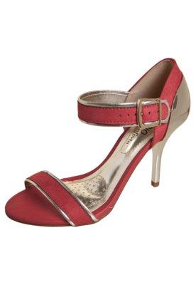 Sandália Beira Rio Traseiro e Tiras Metalizadas Vermelha