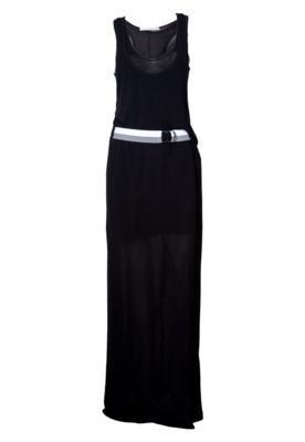 Vestido Longo Espaço Fashion Cinto Preto