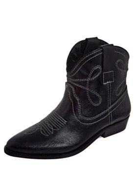 Bota Cowboy Costura Contrastante Preta - Toni Salloum