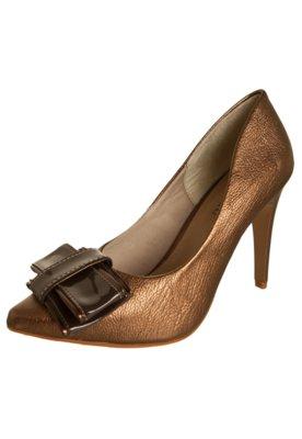 Sapato Scarpin Laço Duplo Metalizado Marrom - FiveBlu