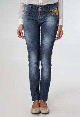 Calça Jeans Sawary Bordado Azul
