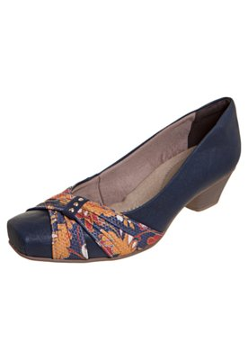Sapato Scarpin Bebecê Salto Médio Faixa Tecido Azul