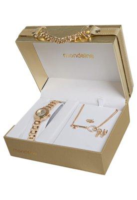 Kit Relógio Mondaine 94180LPMTDM2K 4 peças Dourado