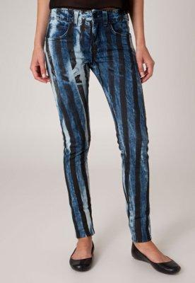 Calça Jeans Afghan Skinny Estampa Azul