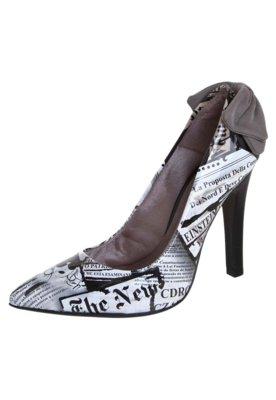 Sapato Scarpin Di Cristalli Bico Fino Laço Traseiro Branco/...