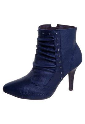 Ankle Boot Ramarim Drapeado Tachas Azul