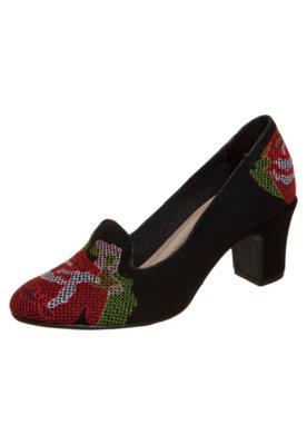 Sapato Scarpin FiveBlu Bordado Preto