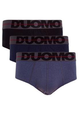 Kit 3 Cuecas Duomo Slip Logo Azul/Preto/Cinza