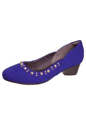 Sapato Scarpin Salto Baixo SPikes Azul - Dayflex