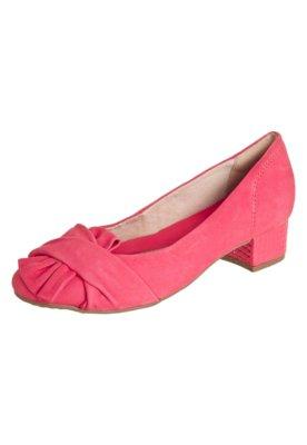 Sapato Scarpin Ramarim Salto Bloco Laço Nó Coral