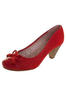 Sapato Scarpin Moleca Salto Médio Biqueira e Vazado Vermelh...