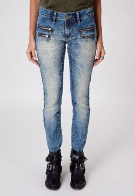 Calça Jeans Espaço Fashion Skinny Manchas Zíperes Azul