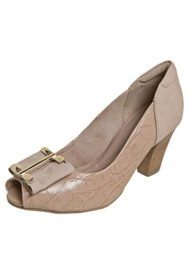 Sapato Scarpin Dayflex Laço com Metal Nude