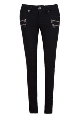 Calça Jeans Espaço Fashion Skinny Zíperes Preta