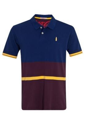 Camisa Polo Coca-Cola Chothing Brasil Tricolor Azul/Vinho - ...