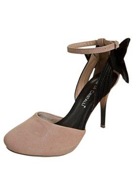 Sapato Scarpin Di Cristalli Semi Aberto Laço Traseiro Nude