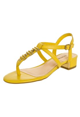 Sandália Bottero Salto Baixo Amarela