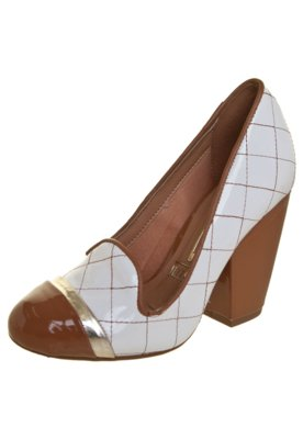 Sapato Scarpin Vizzano Matelassê Salto Grosso Branco
