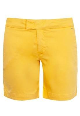 Bermuda Sarja Cantão Pesponto Amarela