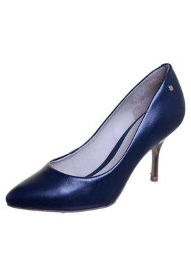 Sapato Scarpin Capodarte Básico Salto Metalizado Azul