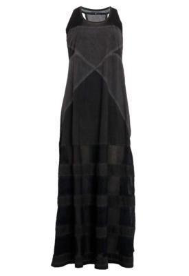 Vestido Longo Redley Recortes Cinza