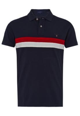 Camisa Polo Gant Chest Azul