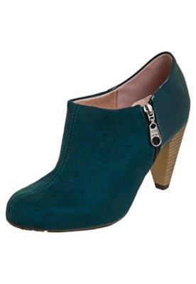 Ankle Boot Moleca Mix Materiais Verde