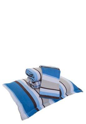 Jogo de Cama Casal Brilhante Listrado 4 peças Azul