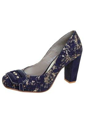Sapato Scarpin Anna Flynn SPikes Craquelado Azul