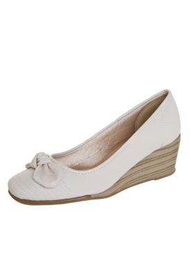 Sapato Scarpin Azaleia Anabela Laço Off-white