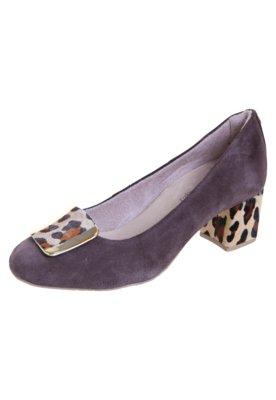 Sapato Scarpin Malu Super Comfort Salto Baixo Ferragem Marro...