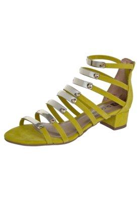 Sandália Di Cristalli Salto Baixo Gladiadora Amarela