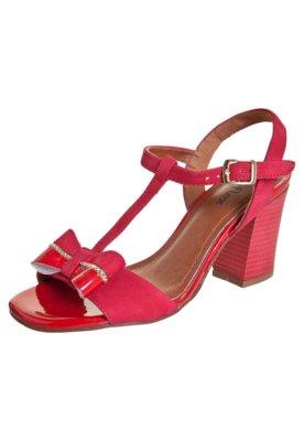 Sandália Dayflex Salto Grosso Laço Vermelha