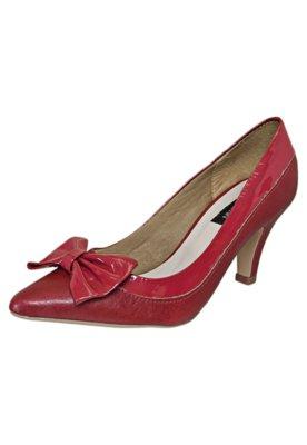 Sapato Scarpin Anna Flynn Laço Bico Fino Vermelho