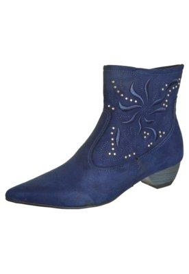 Bota Cowboy Crysalis Baixa Bordado Azul