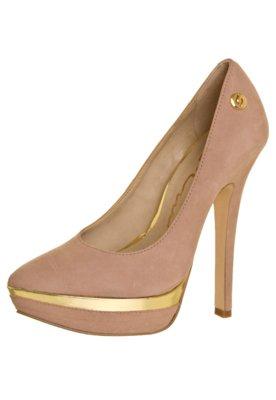 Sapato Scarpin Carmim Meia-Pata Detalhe Metalizado Nude