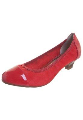 Sapato Scarpin Beira Rio Saltinho Biqueira Verniz Vermelho