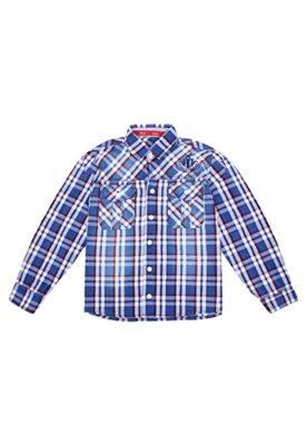Camisa Oliver Bordado Xadrez Azul