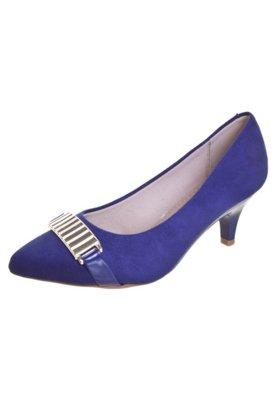 Sapato Scarpin Beira Rio Salto Baixo Ferragem Azul