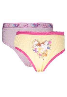 Kit 2 Calcinhas Tanga Princesas Amarelo/Rosa