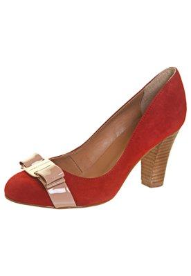 Sapato Scarpin Salto Grosso Laço Vermelho - Raphaella Booz
