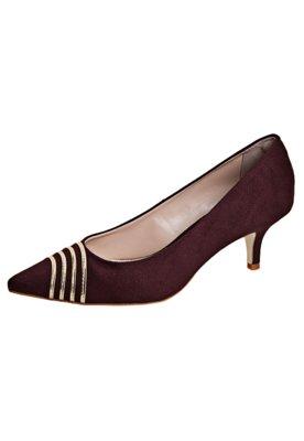 Sapato Scarpin Anna Flynn Faixas Metalizadas Vinho