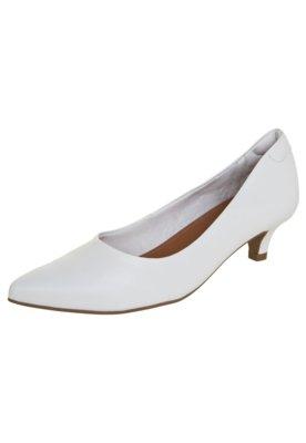 Sapato Scarpin Usaflex Bico Fino Salto Baixo Branco